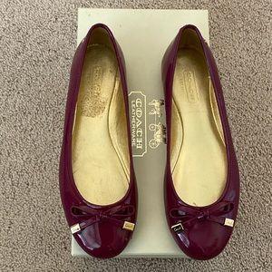 Coach Dotty Patent pink leather flats like new